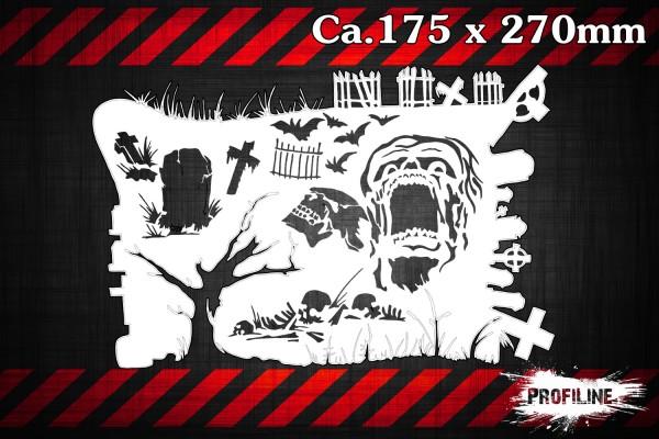 Friedhof Horror Grab Airbrush Schablone - Grave Stencil