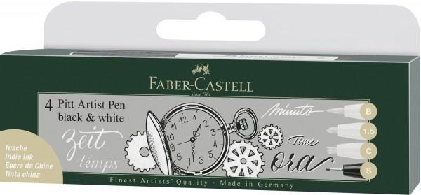 Black & White Tuschestifte 4er Set | Pitt Artist Pen | Faber Castell
