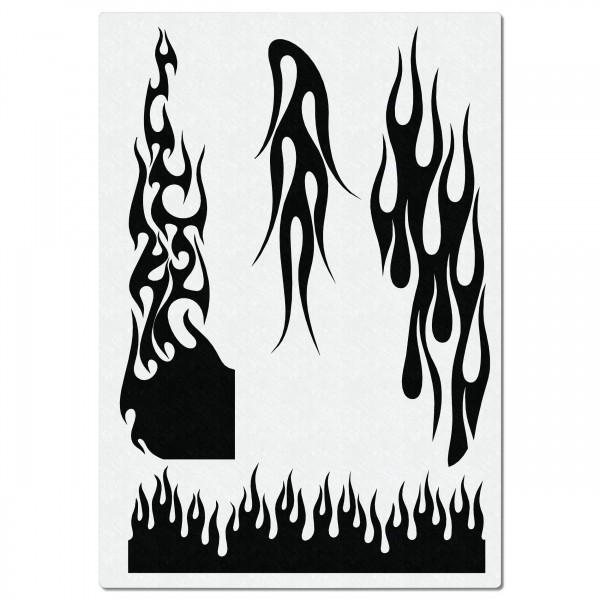 Hot Rod Flames | Airbrush Schablone für Feuer & Flammen | ca.A4