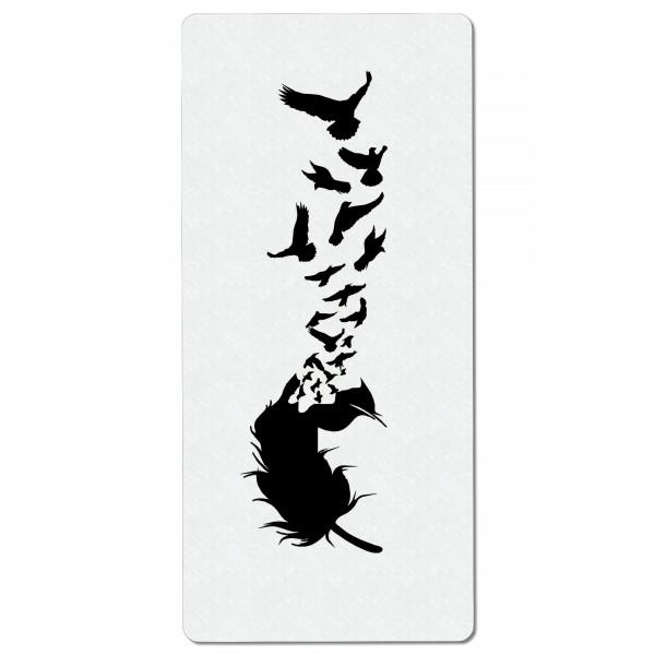 Feder und Vögel #3 | Airbrush Schablone 19 x9 cm