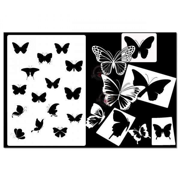 Schmetterling Mega Set | 5tlg. Airbrush Schablonen Set Butterfly