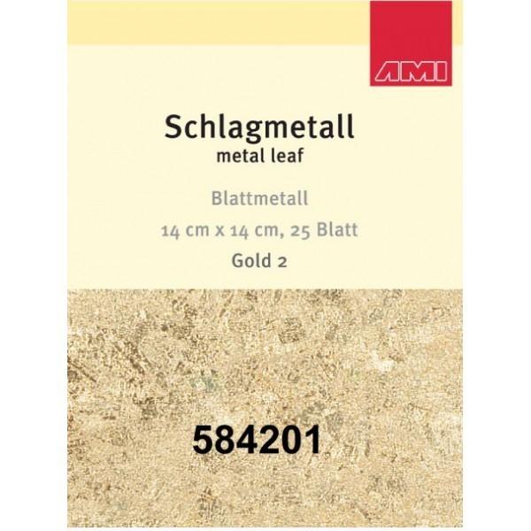 Gold 2 Schlagmetall | 25 Blatt | 14 x14 cm-Image