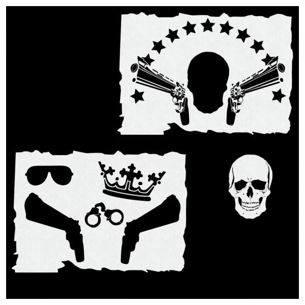 GANGSTA Skull Set | Airbrush Schablone Totenkopf SET| 2ltg