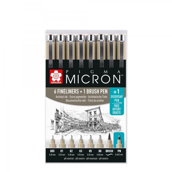 Pigma Micron Set | 6x Pigma Micron, 1x Pigma Brush, 1x Pigma Micron PN