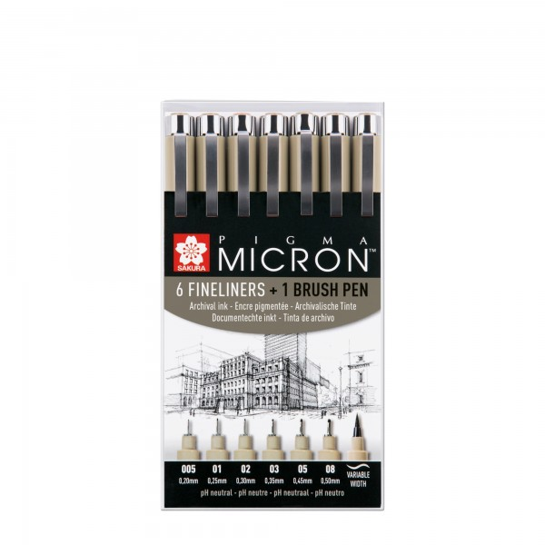 Pigma Micron Set 6+1 Pigma Brush | Sakura