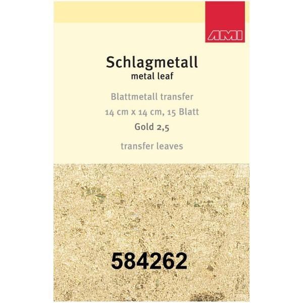 Gold 2,5 Schlagmetall mit Transferpapier    15 Blatt   14 x 14 cm-Image