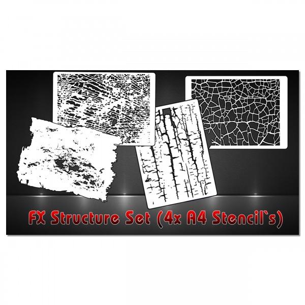 Textur & Struktur FX Set | 4tlg. Airbrush Schablonen | A4