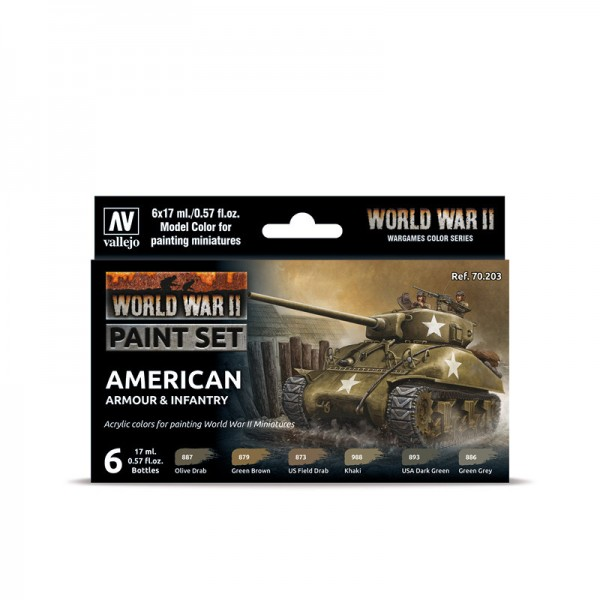 American Armour & Infantry | Vallejo WW II Model Color Farben Set