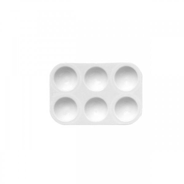 Mischpalette eckig, 6 Näpfe | Kunststoff 13 cm x 8,5 cm