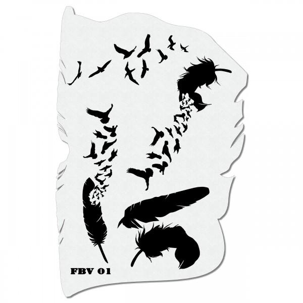 Feder & Vögel | Airbrush Schablone 19cm x 28cm