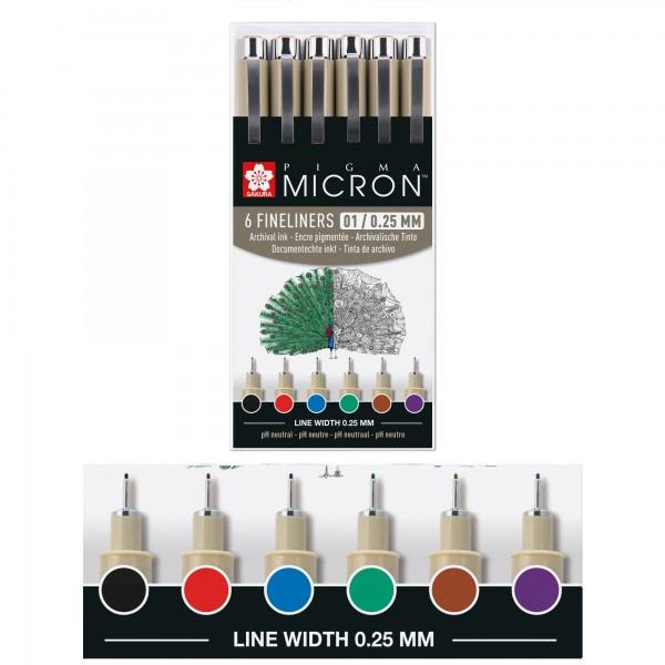 Pigma Micron Buntfarben Set | 6 Sakura Stifte