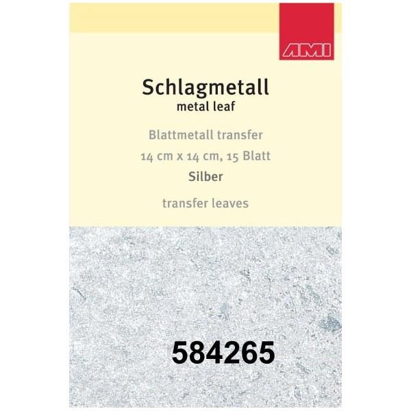 Silber Schlagmetall mit Transferpapier| 15 Blatt | 14 x14 cm-Image