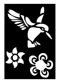 Tattoo Schablone | selbstklebend | Kolibri & Blume-Image