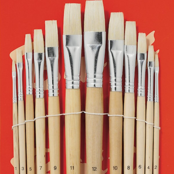 Flache Borstenpinsel | 12er Set