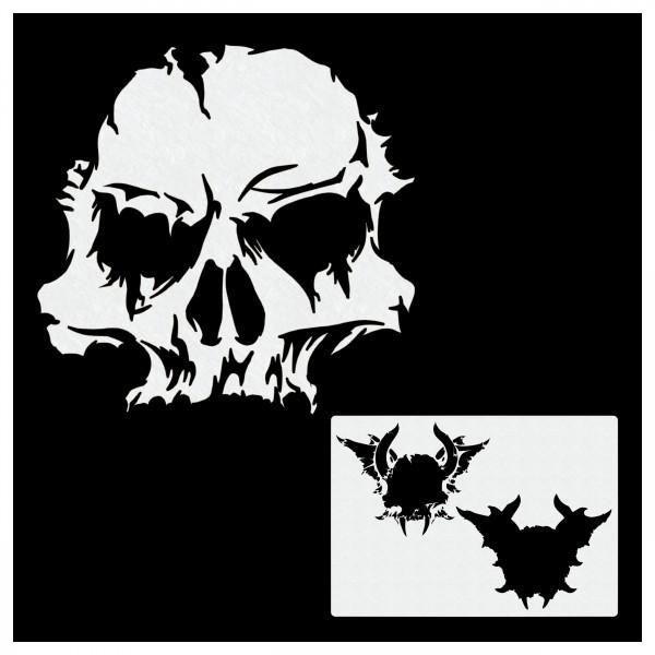 Skull mit Horn | Totenkopf Airbrush Schablone | ca. A4