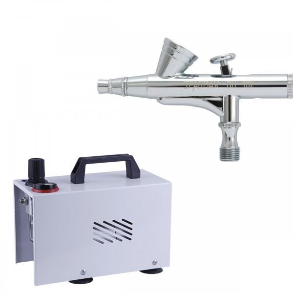 Airbrush Set mit Kompressor und Sparmax Airbrush