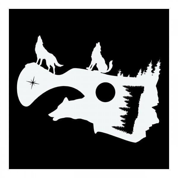 Wolf & Landschaft | Airbrush Schablone | A4