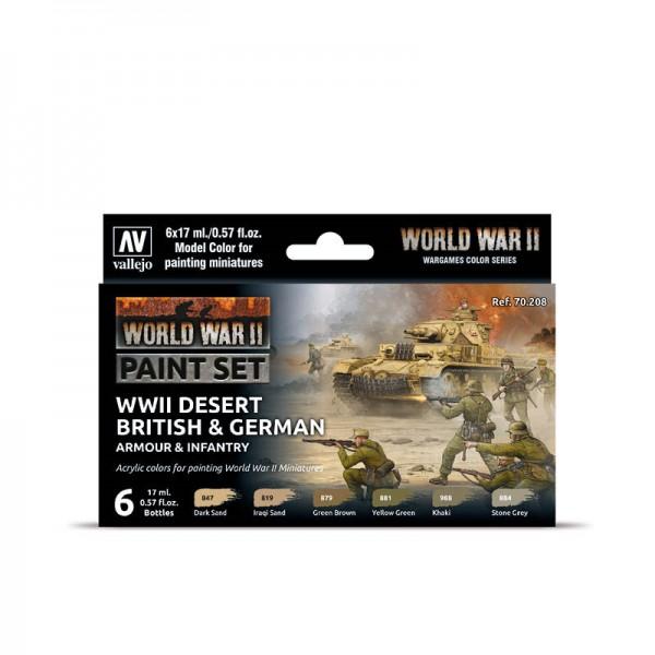 Desert British & German Armour & Infantry | Vallejo WW II Model Color Farben Set