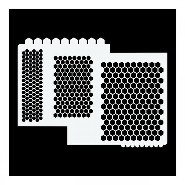 Waben #1 | Airbrush Schablone ca. 19 x 26 cm | Honeycomb Stencil